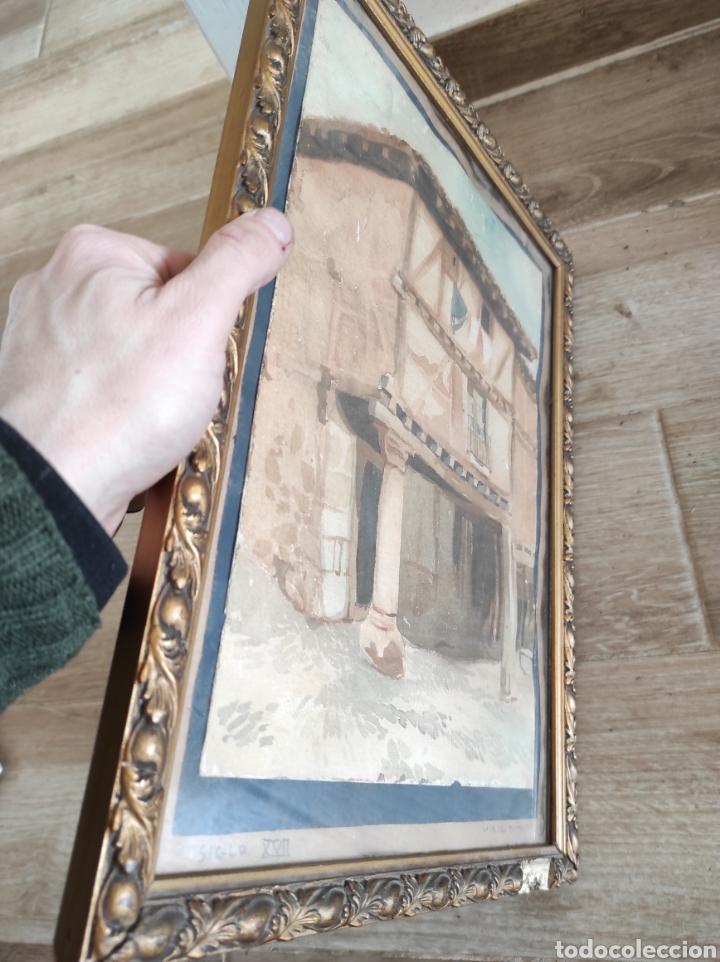 Arte: Antigua acuarela, principios del siglo XX. Recreación de XVII. Enmarcada y con cristal. 30x40cm - Foto 7 - 242334255