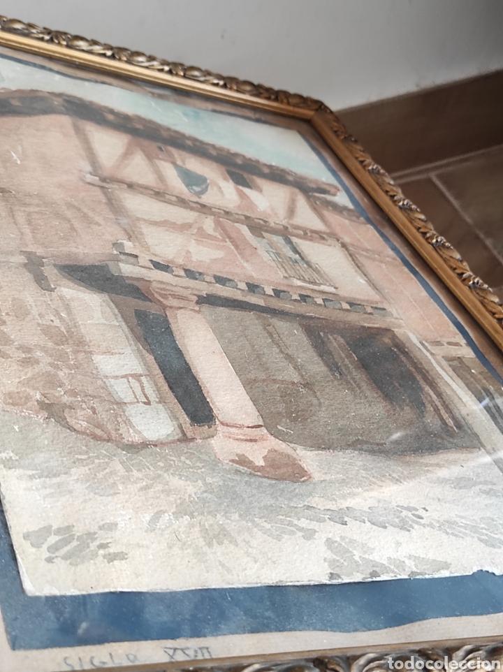 Arte: Antigua acuarela, principios del siglo XX. Recreación de XVII. Enmarcada y con cristal. 30x40cm - Foto 8 - 242334255