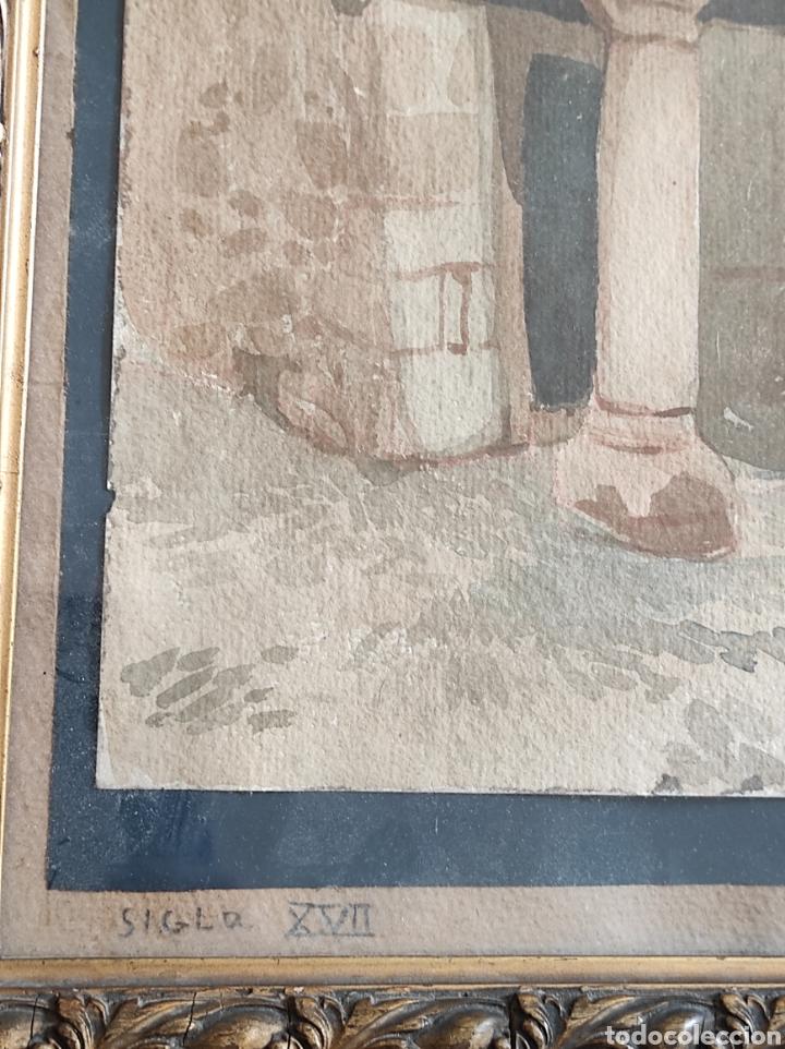 Arte: Antigua acuarela, principios del siglo XX. Recreación de XVII. Enmarcada y con cristal. 30x40cm - Foto 9 - 242334255