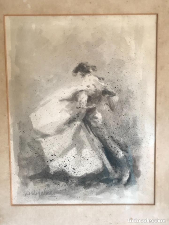 ACUARELA DE. ENRIQUE MORATALLA BARBA, TITULADA LANCE AL VIENTO. TORERO. TAUROMAQUIA. (Arte - Acuarelas - Contemporáneas siglo XX)