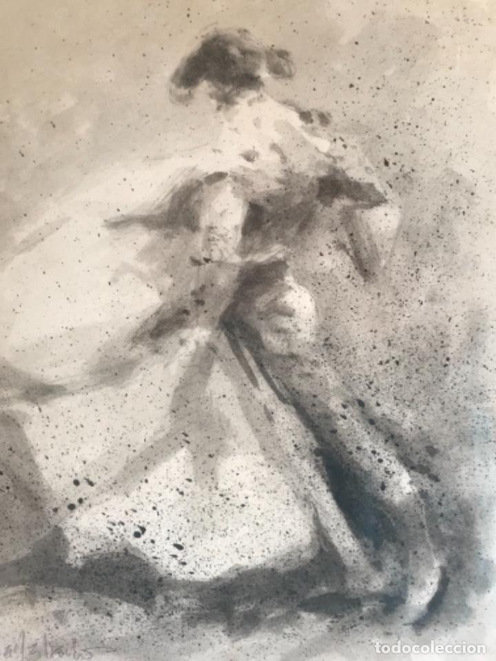 Arte: ACUARELA DE. ENRIQUE MORATALLA BARBA, TITULADA LANCE AL VIENTO. TORERO. TAUROMAQUIA. - Foto 3 - 243133930