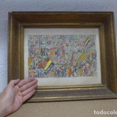 Arte: ANTIGUA LAMINA ACUARELADA A MANO, DE OPISSO, PROCLAMACION REPUBLICA EN BARCELONA, PRE GUERRA CIVIL.. Lote 243893390
