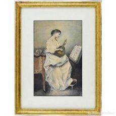 Arte: JOAQUÍN ARAUJO Y RUANO.(1851- 1894) ACUARELA SOBRE PAPEL. DAMA TOCANDO LA MANDOLINA. Lote 243949680