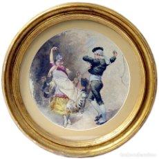Arte: MARCHETTI (ITALIA, SIGLO XIX). ACUARELA CIRCULAR SOBRE CARTÓN.. Lote 243949775