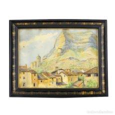 Arte: J. RIERA. ESCUELA CATALANA SIGLO XIX. ACUARELA PINTADA SOBRE PAPEL. PUEBLO DE MONTAÑA. Lote 243949900
