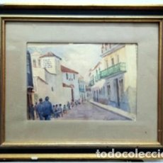 Arte: ACUARELA ENMARCADA CON CRISTAL - VISTA DE ALCALA DE GUADAIRA - FIRMADO - CUADRO-317. Lote 244400355