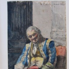 Arte: RAMON CASALS I VERNIS (REUS 1860 - 1920) RETRATO DE ÉPOCA. ROMA, 1884. ACUARELA. 21 X 13,5 CM. Lote 244565825