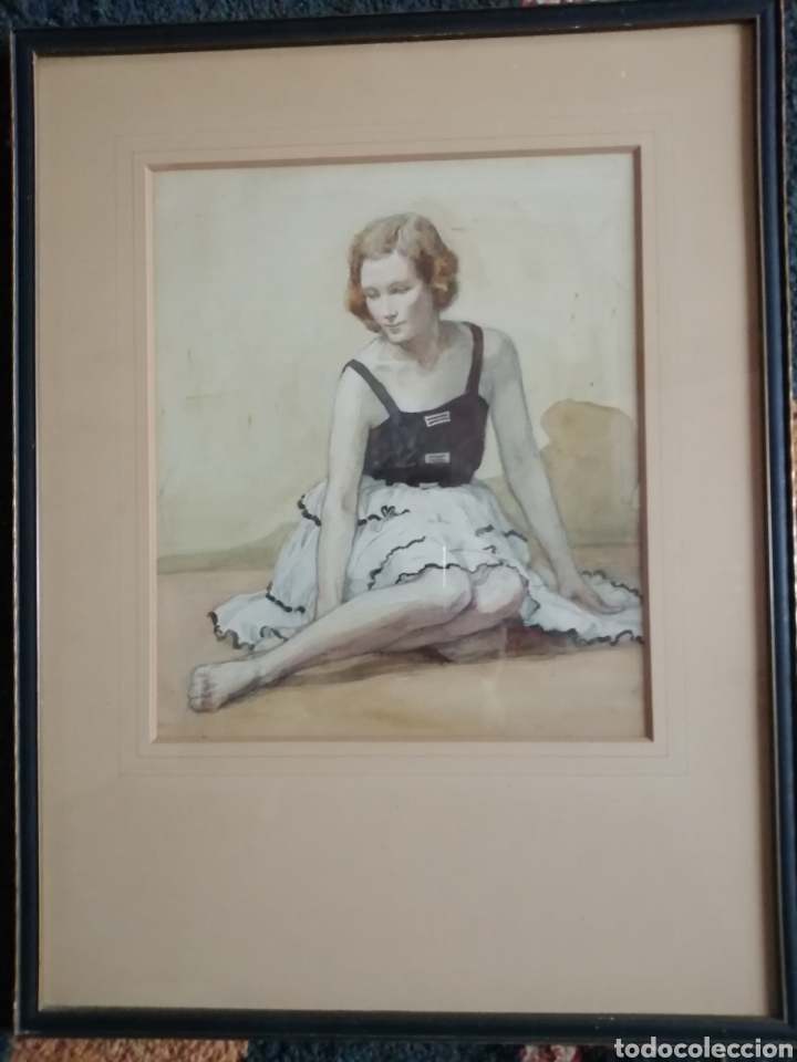PRECIOSA ACUARELA AÑOS 50 (Arte - Acuarelas - Contemporáneas siglo XX)