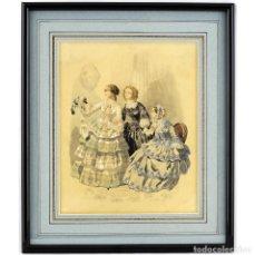 Arte: CELESTÍN JEAN FRANÇOIS DESHAYS. (1817-1879) ACUARELA SOBRE PAPEL. DAMAS FRANCESAS. SIGLO XIX. Lote 243947760