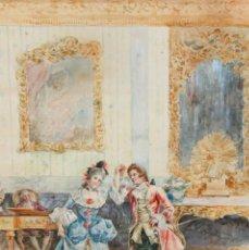 Arte: JOAQUIN PALLARES ALLUSTANTE (ZARAGOZA, 1853 - 1935) ACUARELA SOBRE PAPEL FIRMADA. ESCENA GALANTE. Lote 244819295