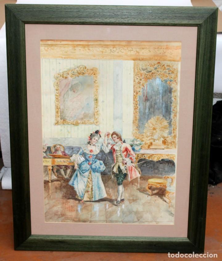 Arte: JOAQUIN PALLARES ALLUSTANTE (Zaragoza, 1853 - 1935) ACUARELA SOBRE PAPEL FIRMADA. ESCENA GALANTE - Foto 2 - 244819295