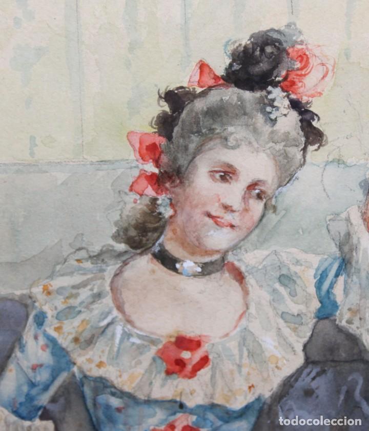 Arte: JOAQUIN PALLARES ALLUSTANTE (Zaragoza, 1853 - 1935) ACUARELA SOBRE PAPEL FIRMADA. ESCENA GALANTE - Foto 4 - 244819295
