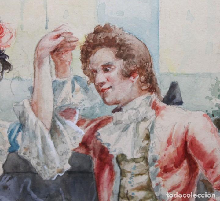 Arte: JOAQUIN PALLARES ALLUSTANTE (Zaragoza, 1853 - 1935) ACUARELA SOBRE PAPEL FIRMADA. ESCENA GALANTE - Foto 5 - 244819295