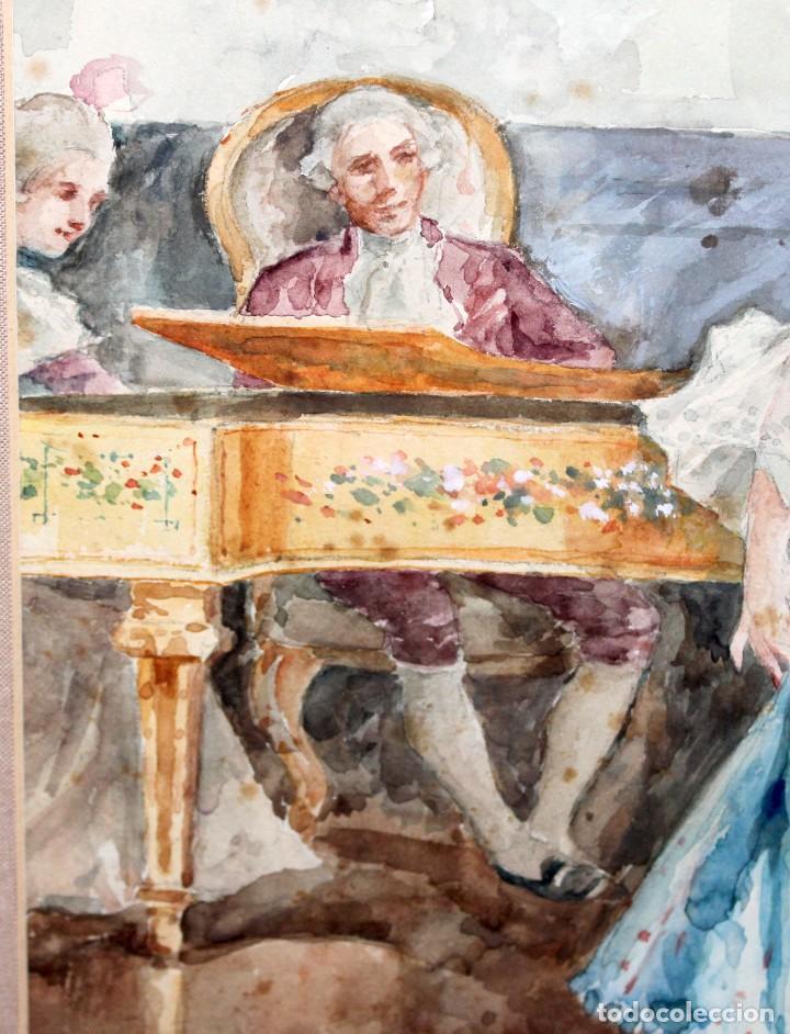 Arte: JOAQUIN PALLARES ALLUSTANTE (Zaragoza, 1853 - 1935) ACUARELA SOBRE PAPEL FIRMADA. ESCENA GALANTE - Foto 6 - 244819295