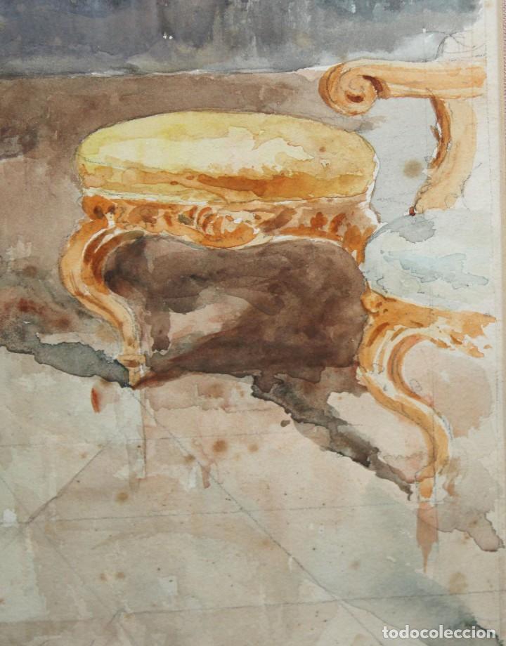 Arte: JOAQUIN PALLARES ALLUSTANTE (Zaragoza, 1853 - 1935) ACUARELA SOBRE PAPEL FIRMADA. ESCENA GALANTE - Foto 7 - 244819295