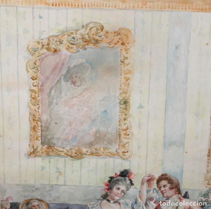 Arte: JOAQUIN PALLARES ALLUSTANTE (Zaragoza, 1853 - 1935) ACUARELA SOBRE PAPEL FIRMADA. ESCENA GALANTE - Foto 9 - 244819295