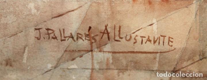 Arte: JOAQUIN PALLARES ALLUSTANTE (Zaragoza, 1853 - 1935) ACUARELA SOBRE PAPEL FIRMADA. ESCENA GALANTE - Foto 10 - 244819295