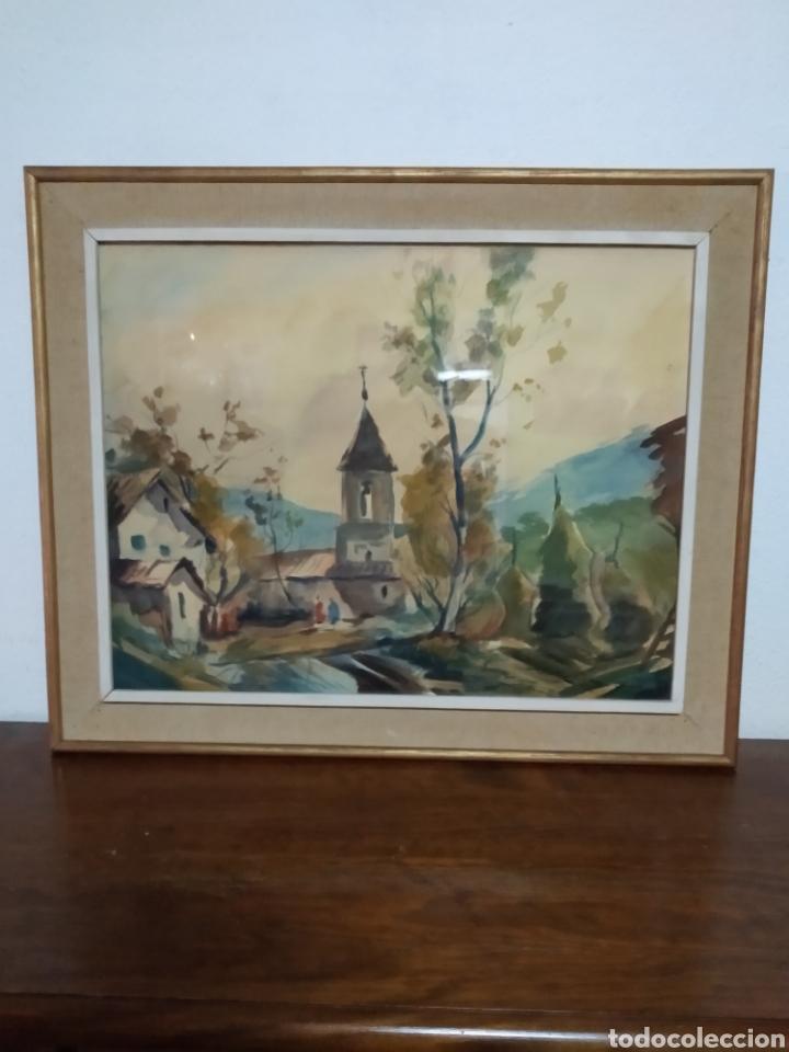 Arte: Antigua pintura principios siglo XX ,papel y acuarela paisaje y pueblo ,firmado ángulo inferior - Foto 2 - 245030290