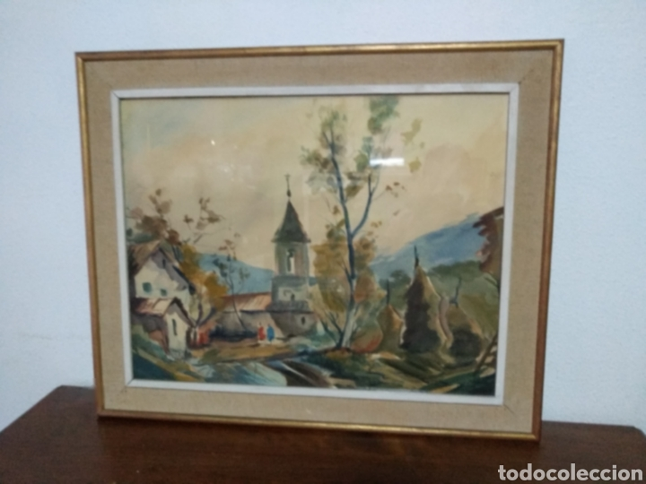 Arte: Antigua pintura principios siglo XX ,papel y acuarela paisaje y pueblo ,firmado ángulo inferior - Foto 3 - 245030290