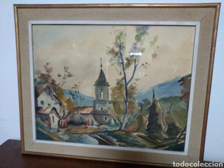 Arte: Antigua pintura principios siglo XX ,papel y acuarela paisaje y pueblo ,firmado ángulo inferior - Foto 4 - 245030290