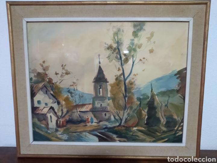 Arte: Antigua pintura principios siglo XX ,papel y acuarela paisaje y pueblo ,firmado ángulo inferior - Foto 5 - 245030290