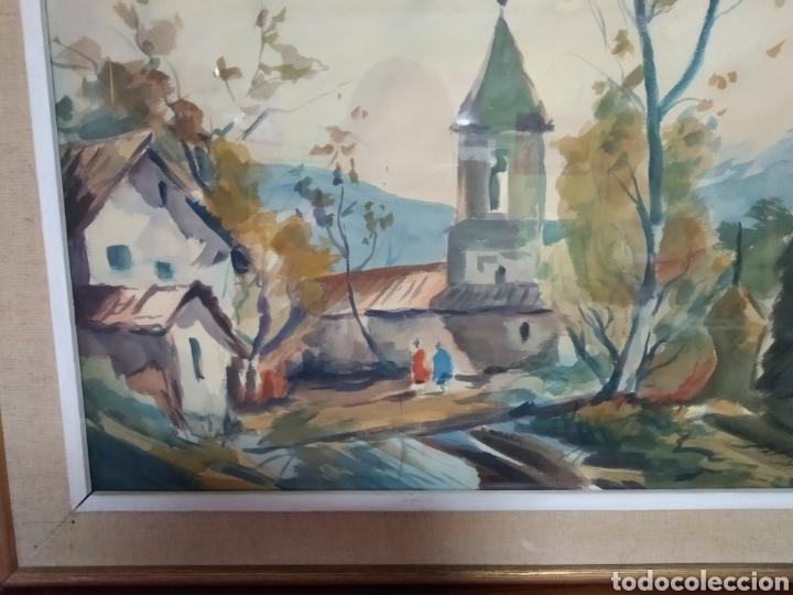 Arte: Antigua pintura principios siglo XX ,papel y acuarela paisaje y pueblo ,firmado ángulo inferior - Foto 6 - 245030290