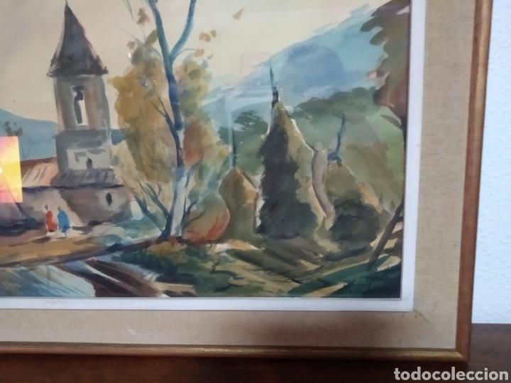Arte: Antigua pintura principios siglo XX ,papel y acuarela paisaje y pueblo ,firmado ángulo inferior - Foto 7 - 245030290