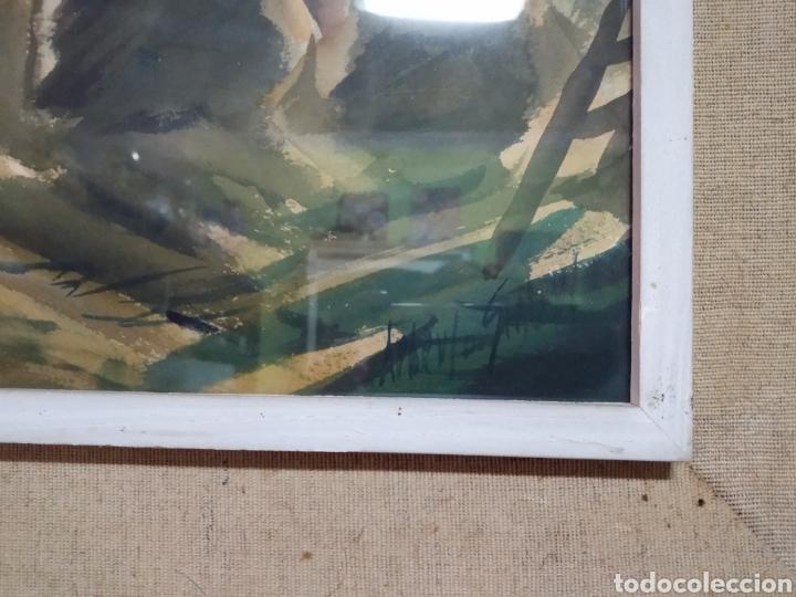 Arte: Antigua pintura principios siglo XX ,papel y acuarela paisaje y pueblo ,firmado ángulo inferior - Foto 8 - 245030290
