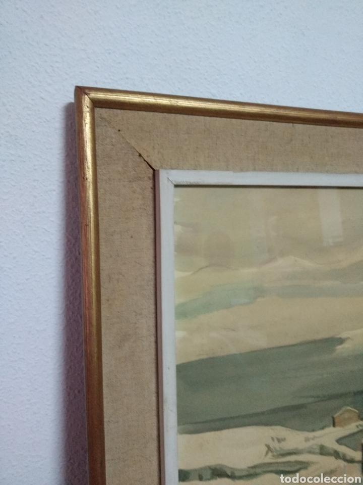 Arte: Interesante pintura sobre papel acuarela firmada ,paisaje nevado población ,firma por determinar - Foto 3 - 245038770