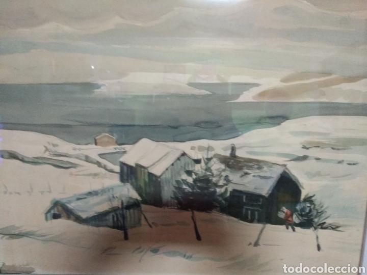 Arte: Interesante pintura sobre papel acuarela firmada ,paisaje nevado población ,firma por determinar - Foto 5 - 245038770