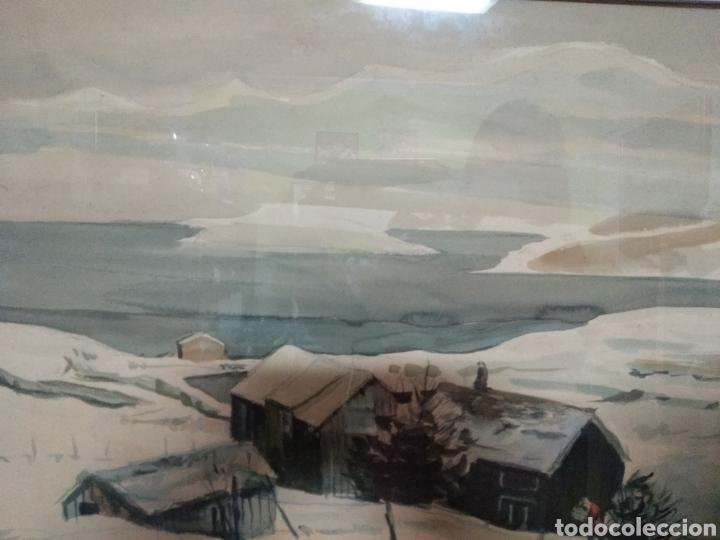 Arte: Interesante pintura sobre papel acuarela firmada ,paisaje nevado población ,firma por determinar - Foto 6 - 245038770