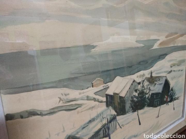 Arte: Interesante pintura sobre papel acuarela firmada ,paisaje nevado población ,firma por determinar - Foto 7 - 245038770
