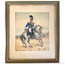 Arte: ACUARELA CORACERO DE LA GUARDIA REAL - J. LÓPEZ DE RODA 1946. Lote 245254030