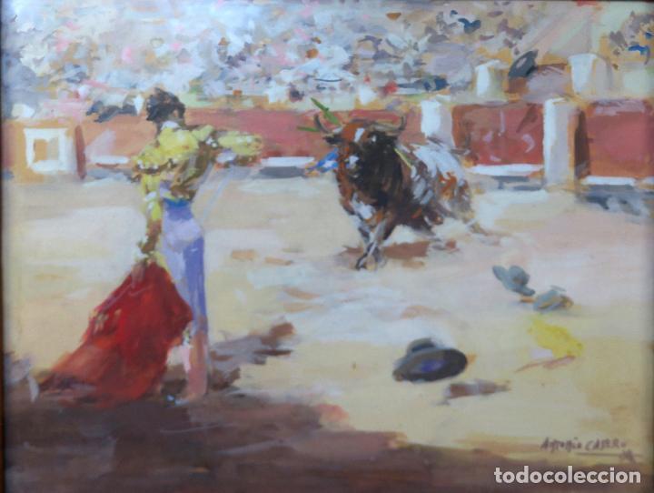 Arte: Tauromaquia toreando acuarela sobre papel Antonio Casero Sanz firmada años 50 - Foto 2 - 245547480