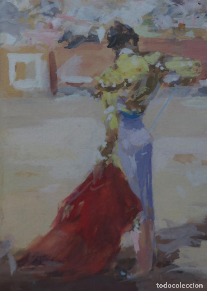 Arte: Tauromaquia toreando acuarela sobre papel Antonio Casero Sanz firmada años 50 - Foto 4 - 245547480
