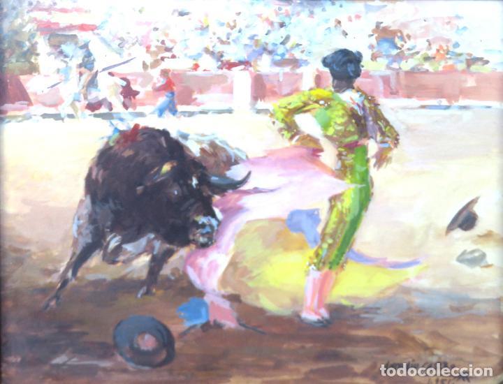 Arte: Tauromaquia toreando acuarela sobre papel Antonio Casero Sanz firmada y fechada en 1951 - Foto 2 - 245547870