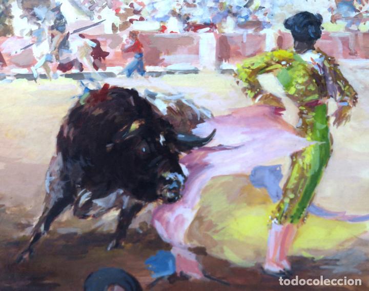 Arte: Tauromaquia toreando acuarela sobre papel Antonio Casero Sanz firmada y fechada en 1951 - Foto 3 - 245547870