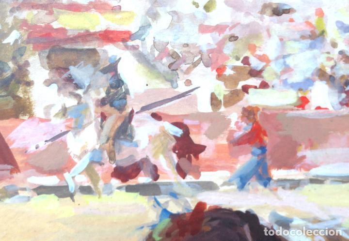 Arte: Tauromaquia toreando acuarela sobre papel Antonio Casero Sanz firmada y fechada en 1951 - Foto 5 - 245547870