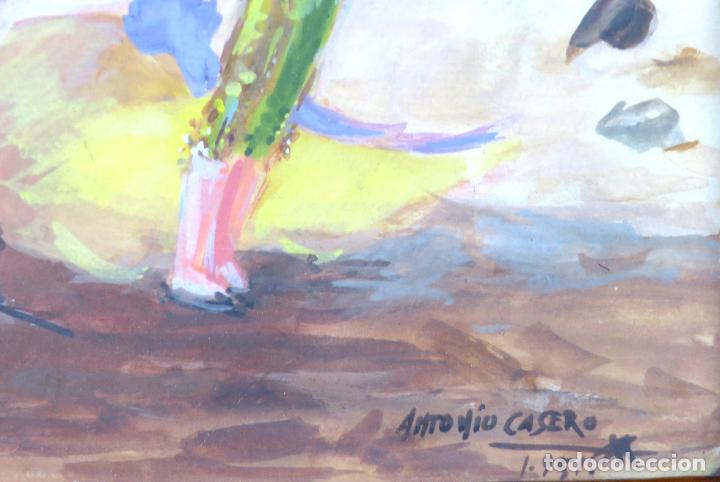 Arte: Tauromaquia toreando acuarela sobre papel Antonio Casero Sanz firmada y fechada en 1951 - Foto 6 - 245547870