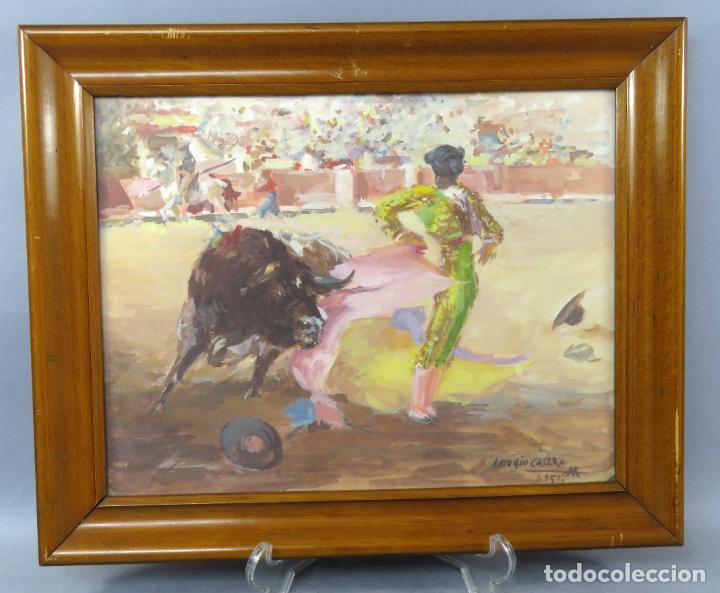 TAUROMAQUIA TOREANDO ACUARELA SOBRE PAPEL ANTONIO CASERO SANZ FIRMADA Y FECHADA EN 1951 (Arte - Acuarelas - Contemporáneas siglo XX)