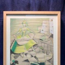 Arte: ACUARELA ILUSTRACION ANGELES TORNER CERVERA ATE ATE MUJER PERROS HOMBRE FLAUTA 1931 51X44CMS. Lote 246775580