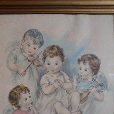 Arte: HERMOSO DIBUJO ACUARELA DE BEBE / NIÑO CON TRES ANGELITOS ALREDEDOR TOCANDO MUSICA Y CANTANDO. Lote 247516800