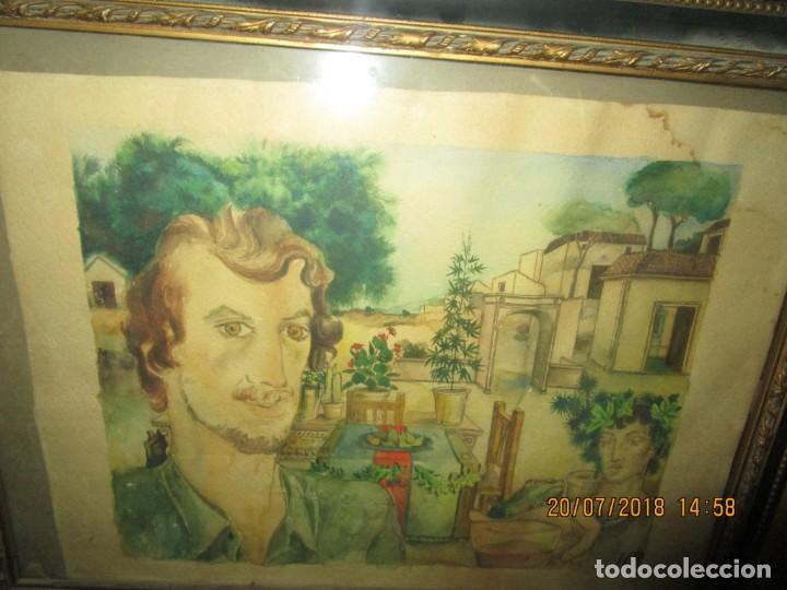ACUARELA ALEGORIA DIOS VINO BACO PRINCIPIOS DE SIGLO FIRMA DA CIRCULO PROXIMO A G. CASTELLO ALICANTE (Arte - Acuarelas - Contemporáneas siglo XX)