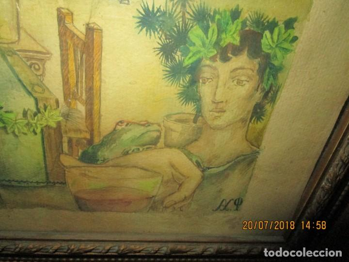 Arte: acuarela alegoria DIOS VINO BACO PRINCIPIOS DE SIGLO FIRMA DA CIRCULO PROXIMO A G. CASTELLO ALICANTE - Foto 3 - 247655785