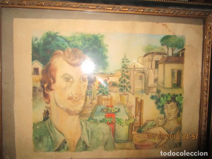 Arte: acuarela alegoria DIOS VINO BACO PRINCIPIOS DE SIGLO FIRMA DA CIRCULO PROXIMO A G. CASTELLO ALICANTE - Foto 5 - 247655785