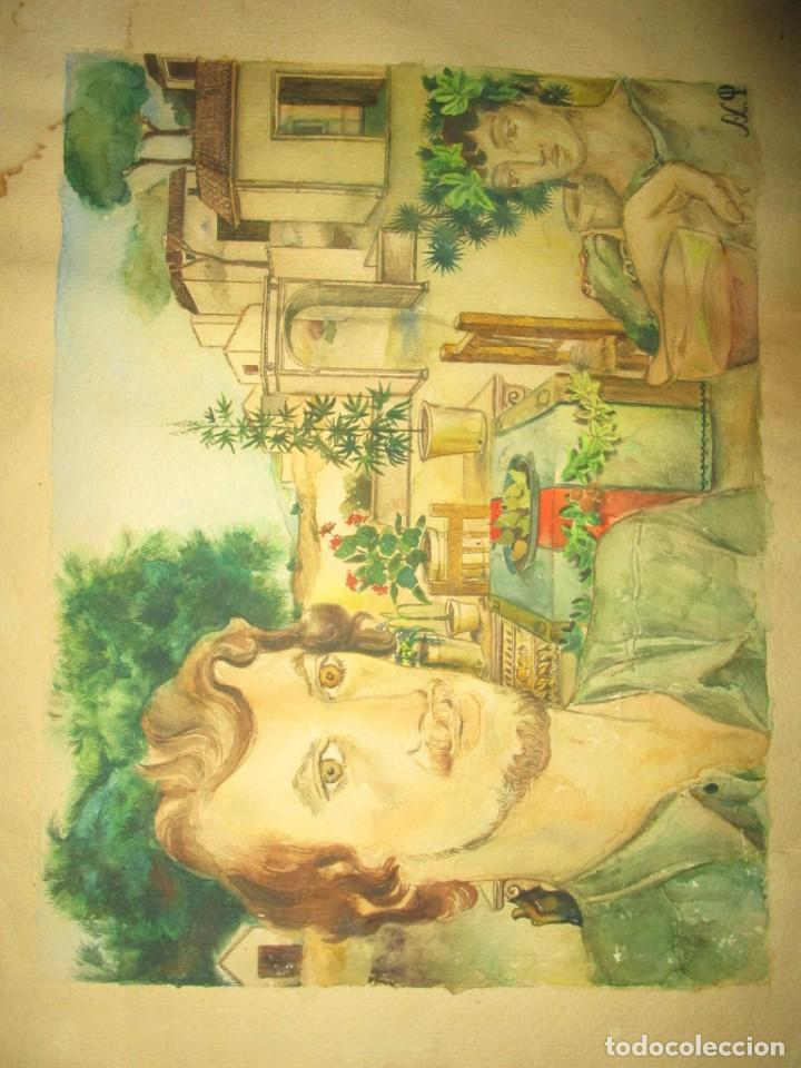 Arte: acuarela alegoria DIOS VINO BACO PRINCIPIOS DE SIGLO FIRMA DA CIRCULO PROXIMO A G. CASTELLO ALICANTE - Foto 6 - 247655785