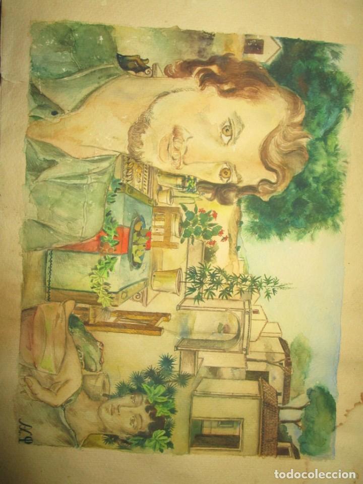 Arte: acuarela alegoria DIOS VINO BACO PRINCIPIOS DE SIGLO FIRMA DA CIRCULO PROXIMO A G. CASTELLO ALICANTE - Foto 9 - 247655785