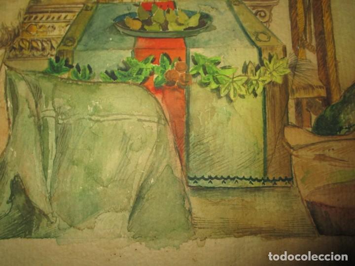 Arte: acuarela alegoria DIOS VINO BACO PRINCIPIOS DE SIGLO FIRMA DA CIRCULO PROXIMO A G. CASTELLO ALICANTE - Foto 14 - 247655785