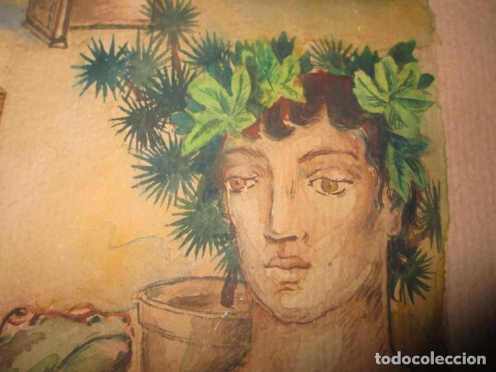 Arte: acuarela alegoria DIOS VINO BACO PRINCIPIOS DE SIGLO FIRMA DA CIRCULO PROXIMO A G. CASTELLO ALICANTE - Foto 7 - 247655785