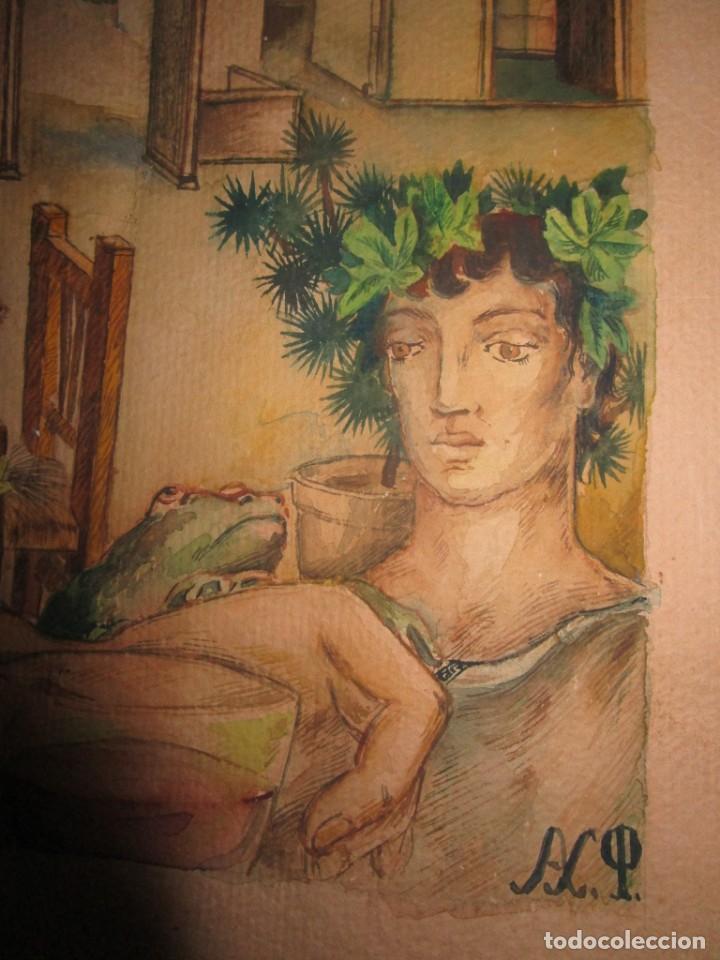 Arte: acuarela alegoria DIOS VINO BACO PRINCIPIOS DE SIGLO FIRMA DA CIRCULO PROXIMO A G. CASTELLO ALICANTE - Foto 19 - 247655785